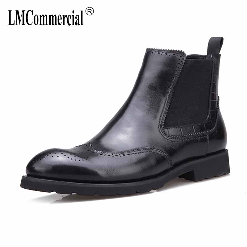 New High top Men's Cotton Shoes Genuine Leather Fur Warm Martin Boots all-match cowhide cashmere zipper snow boots men Chelsea