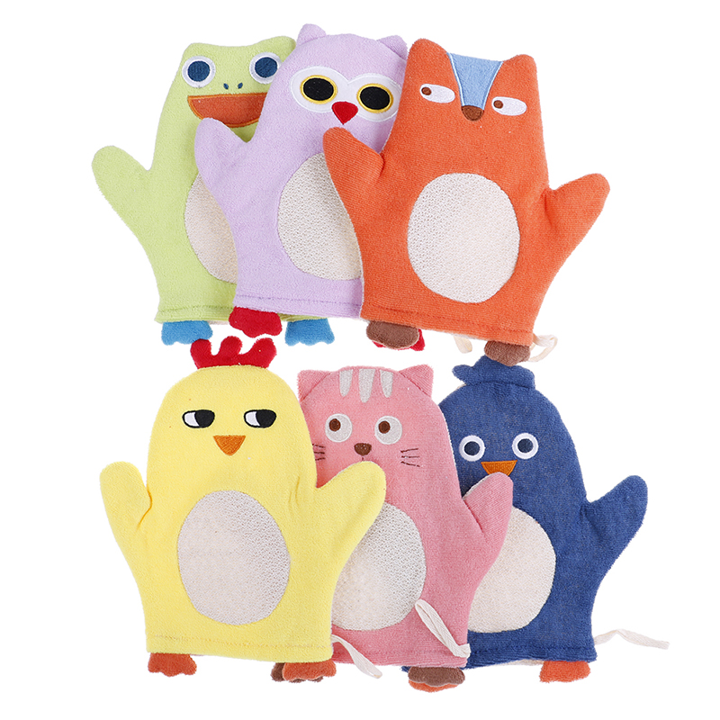 1PCS New Animal Fox Penguin Cartoon Soft Baby Bath Brush Newborn Baby Shower Glove Kid Necessaries