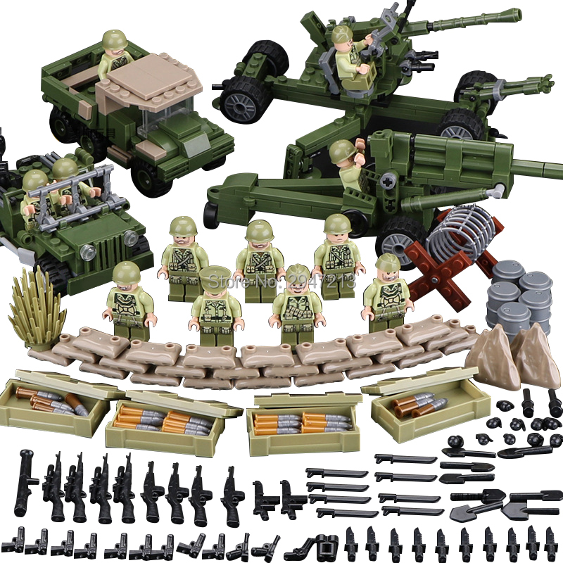 compatible LegoINGlys military World War II ww2 Building Blocks US armies Tunisian landing fight mini weapon figures brick toys ...