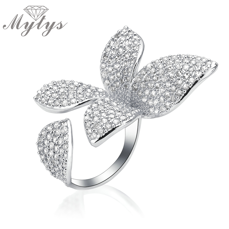 Mytys Free Size Open Cuff Ring Flower Design High Level Pave Setting Zircon Crystal Adjustable Size Ring Fashion R1094