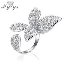 Mytys Tamaño Libre Manguito Abierto Anillo de Diseño de La Flor Pavimenta el Cristal de Circón Anillo de Tamaño Ajustable de Moda de Alto Nivel R1094
