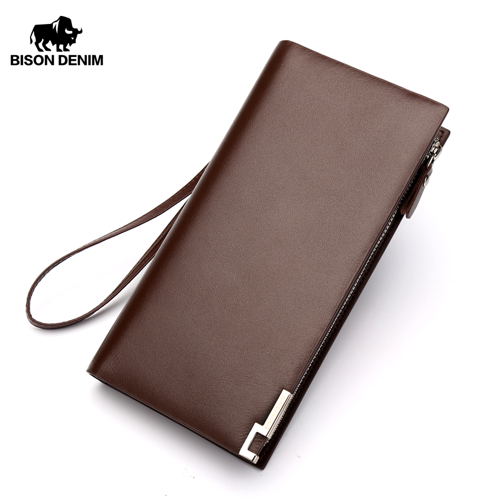 BISON DENIM Genuine Leather Wallet Men Business Clutch Wallets Coin Purse Coffee Long Wallet Organizer Zipper Card Holder N8017