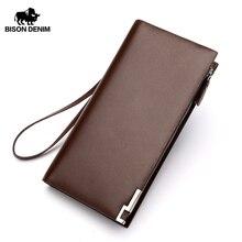 BISON DENIM Genuine Leather Wallet Men Business Clutch Wallets Coin Purse Coffee long wallet Organizer Zipper card holder N8017