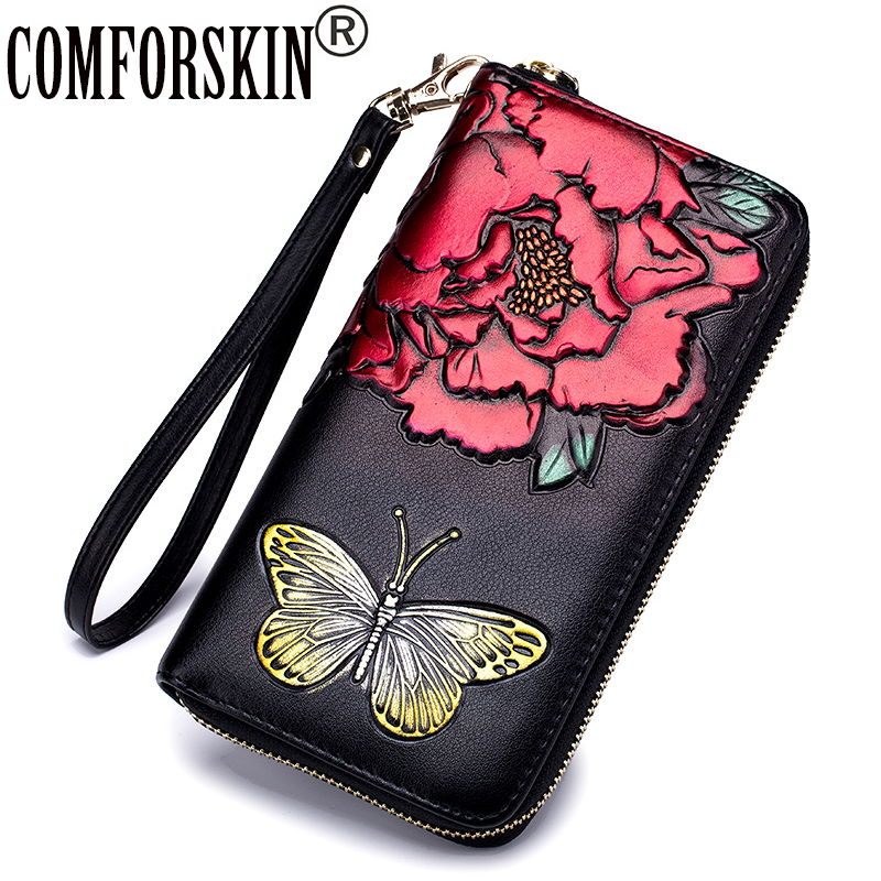 COMFORSKIN New Arrivals RFID Butterfly Women Wallets European and American Multi-card Bit Ladies Purses 2018 Carteira Feminina