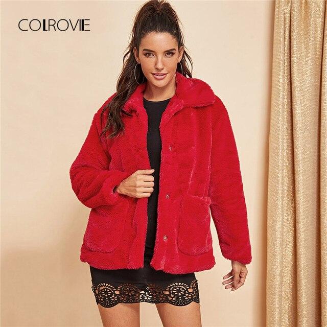 9538196ed0057 COLROVIE красные однотонные офисные зимние из искусственного меха Тедди  куртка Для женщин 2018 осень уличная Femme модные теплые элегантные женски