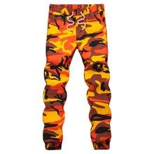 Ins Arancione Camouflage Jogger Pantaloni Dei Pantaloni Degli Uomini di Hip Hop Tessuto Casual Tattico Militare Tasche Dei Pantaloni di Cotone 2020 Pantaloni Della Tuta