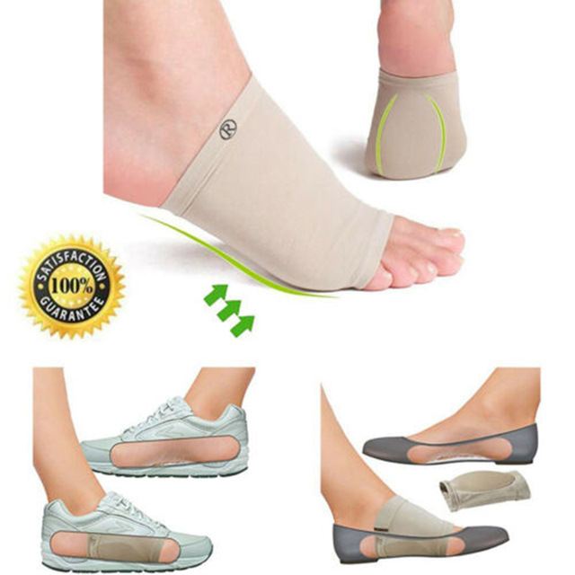 Nuevo Pro 1 par soporte de arco fascitis Plantar en vivomed pies manga cojín Gel ortesis Plantilla de cuidado de los pies herramienta