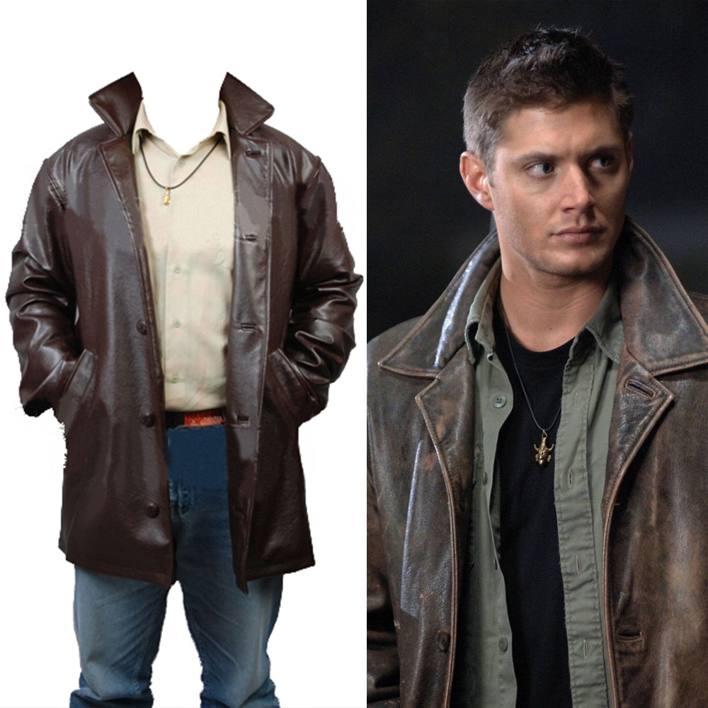 Supernatural Cosplay Costume Dean Winchester Pleather Jacket Coat Cosplay Costume Adult Halloween Carnival Clothes