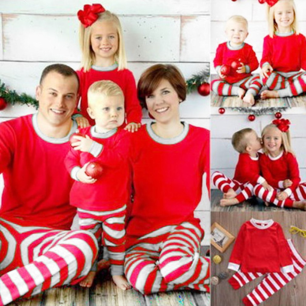 new christmas pajama sets autumn warm cotton family clothes dad mom kids christmas theme home wears redwhite tops striped pant