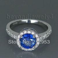 Vintage Okrągły 6.5mm Platinum PT900 Natural Sapphire Biżuteria Pierścień, diament Niebieski Szafir Pierścionek zaręczynowy Na Sprzedaż WU025