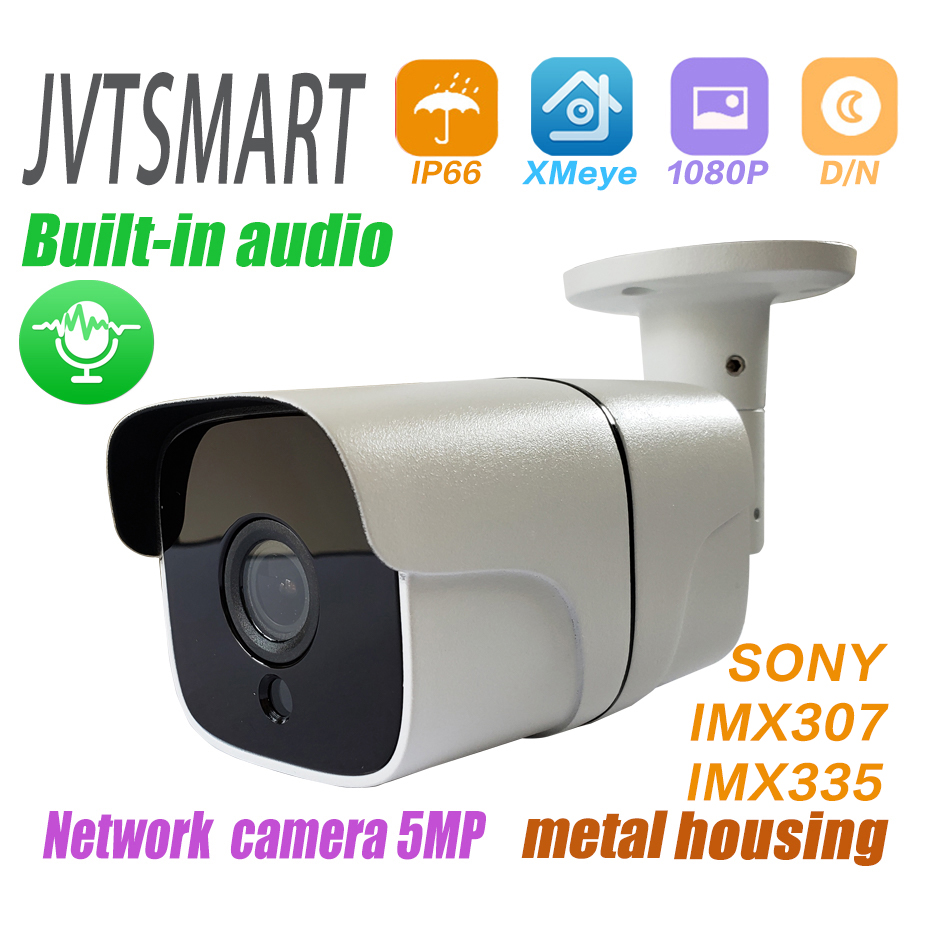 Built-in Audio H.265 IP Camera 1080P 3mp 5mp 2.8mm 3.6 Mm ONVIF P2P 48v Poe Network Ipcam Metal XMEye Surveillance Xmeye CCTV