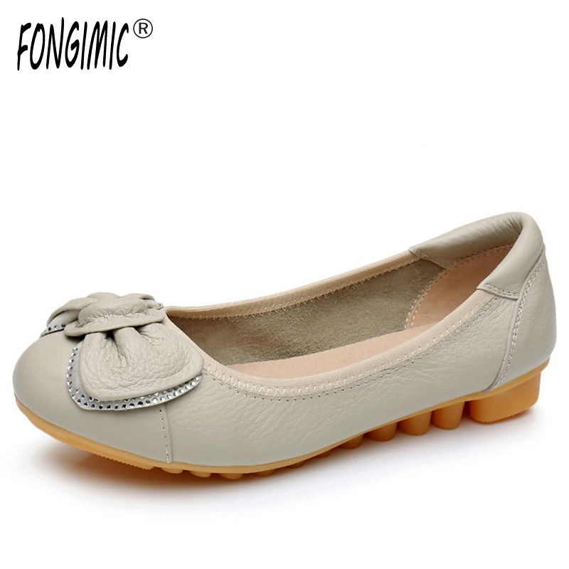 Fongimic Spring Autumn Women Slip-on Round Toe Women All Match Breathable Casual Shoes Wear Comfortable Shallow Bow Tie Flats