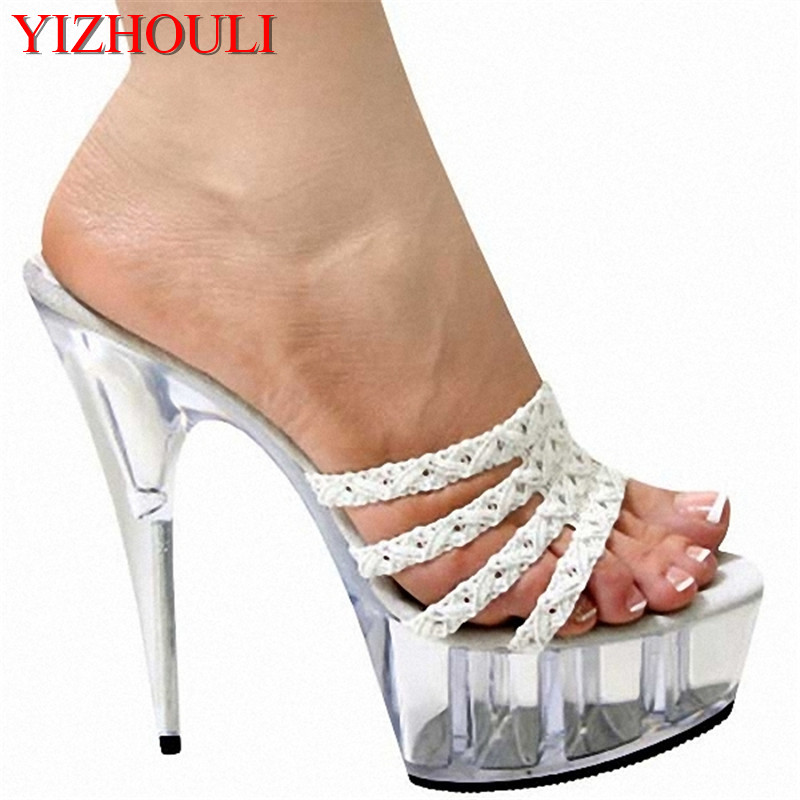 Fashion high heels Cultivate one's morality show thin 15 centimeters high heel sandals fish mouth taste glass slipper new winter 2015 women cotton padded clothes draw string of cultivate one s morality show thin fashionable