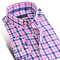 2017 Spring Men's Long-Sleeve Contrast Color Plaid Shirts Comfort Soft 100% Cotton Casual Slim-fit Button-Down Dress Shirt