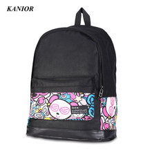 Fashion Women Backpacks High Quality Nylon School Backpack Character Pattern Student Women Bag Preppy Style Women Back Pack