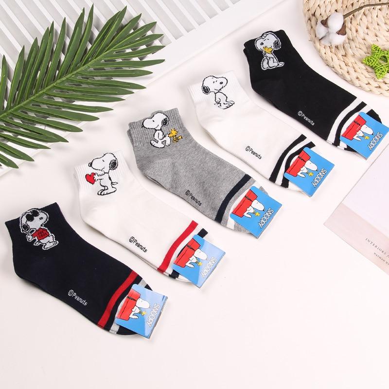Cartoon Beagle dog striped   socks   fashion cute funny novelty women   sock   autumn Korean comfort sweat absorbent white cotton   socks