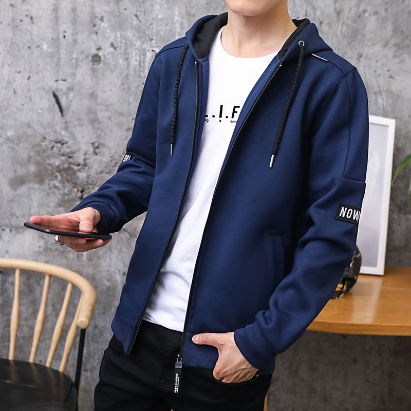 Image 3 - Hoodies Men 2019 Autumn Casual Men Zipper Hoodies Sweatshirts Cotton Thick Top Fashion Men Hooded Jackets Male Coat Hoody-in Hoodies & Sweatshirts from Men's Clothing