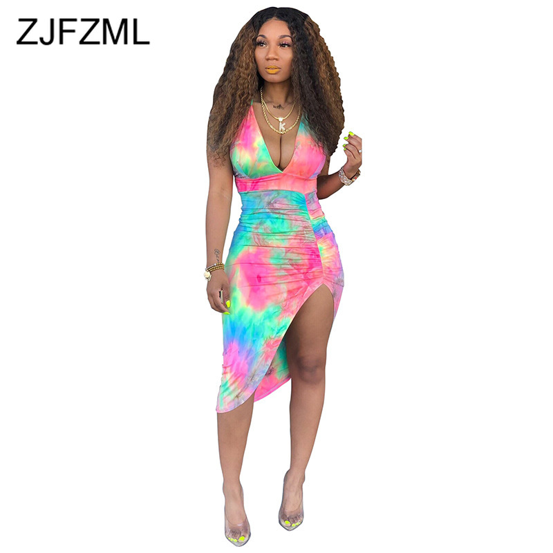 Colorful Tie Dye Summer Pleated Dress 2019 Women Deep V Neck Sleeveless Party Sundress Backless Side Split Sheath Dresses