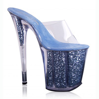 Sexy Blue Glitter Clear Crystal Sandals 20cm Hot Selling Lady S High Heels 8 Inch High