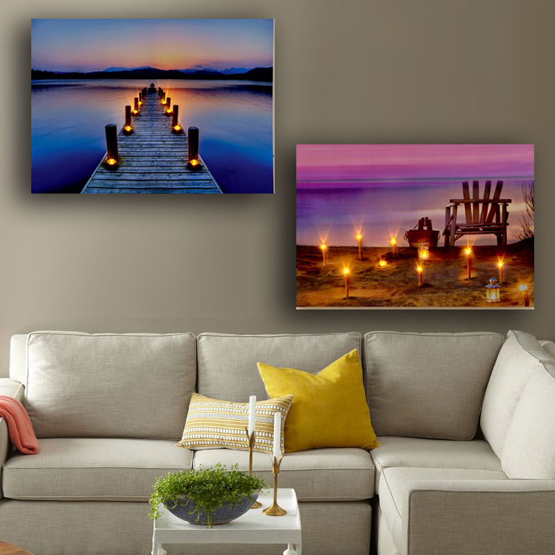 Lake and Beach Scene Flicking LED Wall Picture with Candles canvas painting with led light for home decorative