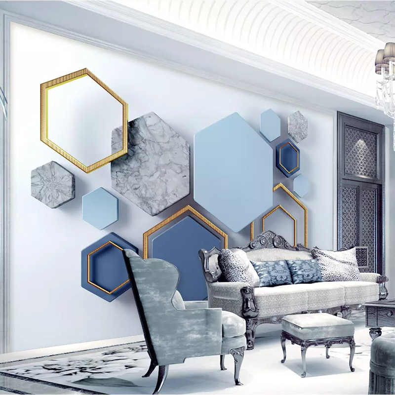 Custom 3d โมเดิร์น Minimalist Geometric Marble Mosaic Wall ผ้าวอลล์เปเปอร์ภาพจิตรกรรมฝาผนัง Living Room Wall ตกแต่งบ้าน Papel De Parede