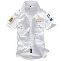 Новый 6XL военные Для мужчин; короткий рукав рубашки летняя мода Вышитые Высокая Качественный хлопок Air Force One MA1 Повседневная рубашка AE12002