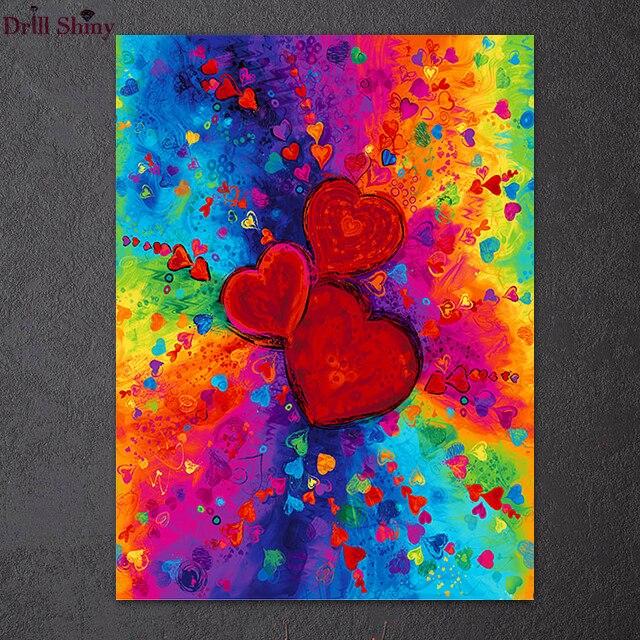 Pintura de diamantes 5D artesanal, pintura de pared moderna abstracta con  bordado de Tres corazones de amor colorido para decoración del hogar,  regalo de pareja de Navidad|Pintura de punto de cruz de
