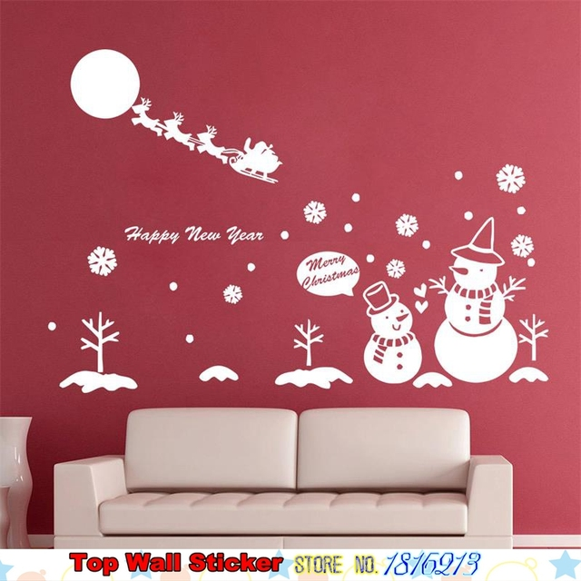 New White Lovely Snowman Snowflake Wall Sticker For Home Living Room ...