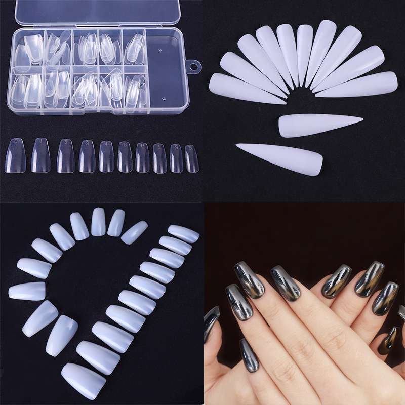 100Pcs Ballerina False Nail Tips Coffin Shape 1Box Long Beauty Full Tips Natural White ClearManicure Nail Art Decoration