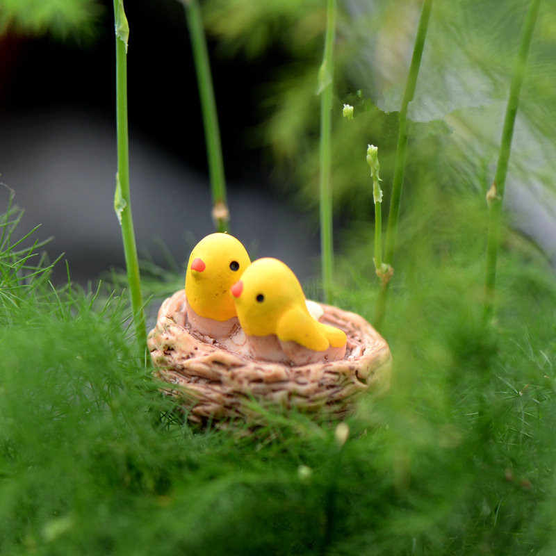 Mini nest with birds fairy garden miniatures gnomes moss terrariums resin crafts figurines for home decoration accessories DIY
