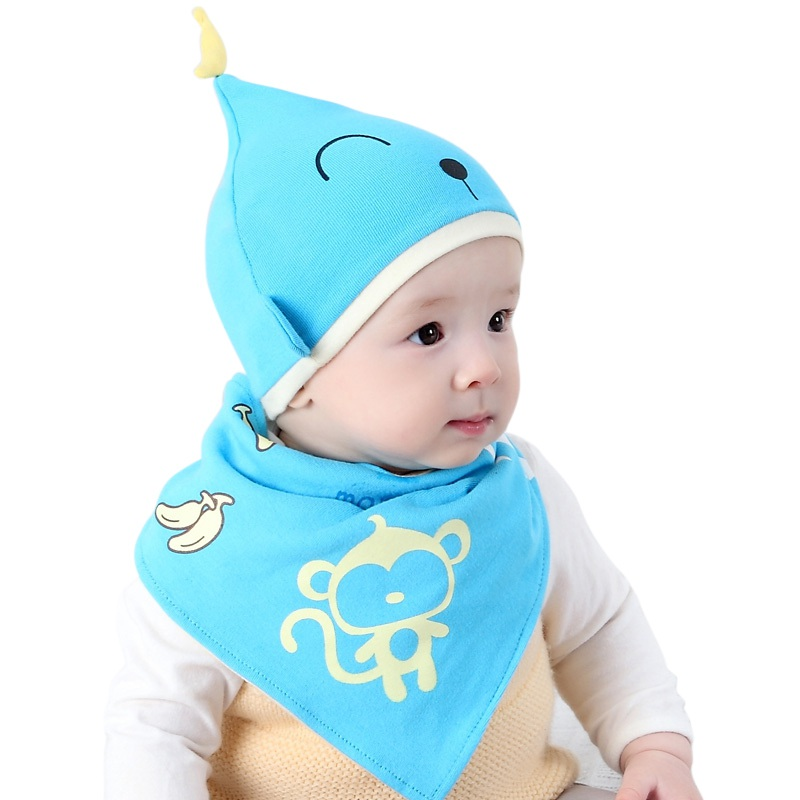 cf9530e37ca0 2pcs  set Hot Sale Newborn Cotton Hats Lovely Monkey Printed Baby ...