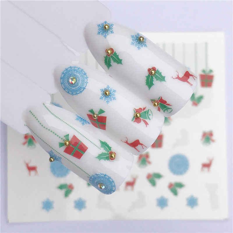YWK Bunte Nagel Aufkleber Winter DIY Schneeflocken Nail art Dekoration Tipps Weihnachten Wasser Tattoos