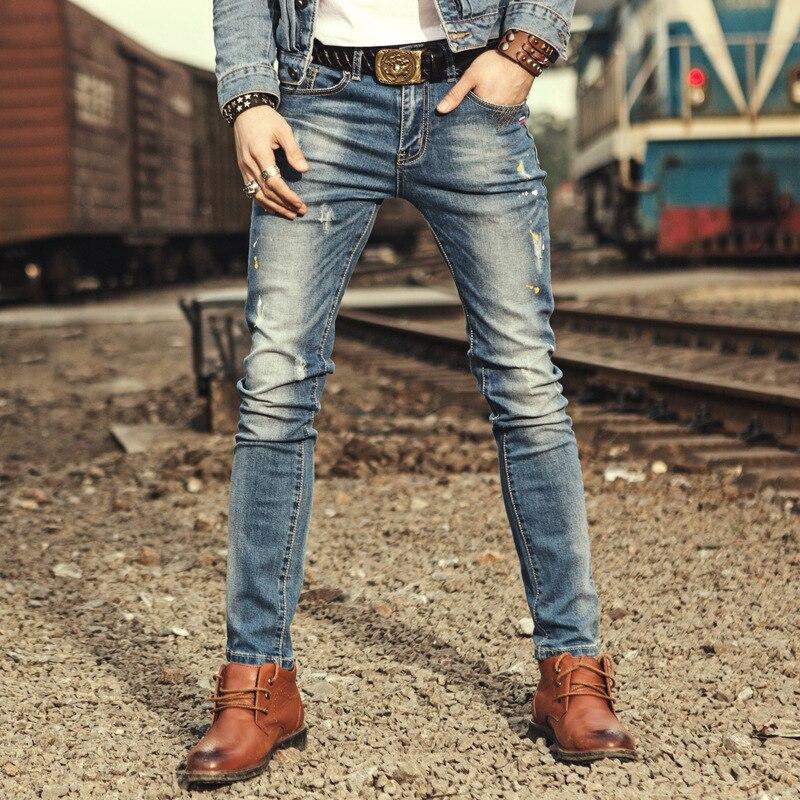 Brand Mens Jeans Straight Ripped Jeans For Men 2017 Zipper Fly Denim Jeans Men Fashion Designer Pants Blue Jeans Homme famous brand mens jeans straight ripped biker jeans for men zipper denim overalls men fashion designer pants blue jeans homme
