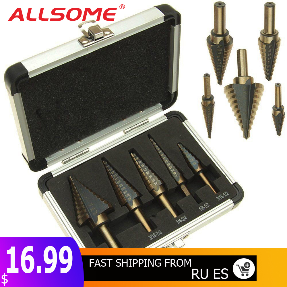 ALLSOME 5pcs/Set HSS COBALT MULTIPLE HOLE 50 Sizes STEP DRILL BIT SET With Aluminum