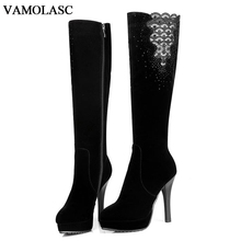 VAMOLASC New Women Autumn Winter Warm Faux Suede Knee High Boots Sexy Zipper Thin High Heel