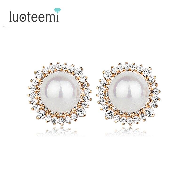 LUOTEEMI Brand New Wholesale Charm Vintage Design Style Round AAA Imitation Pearl Earrings Stud