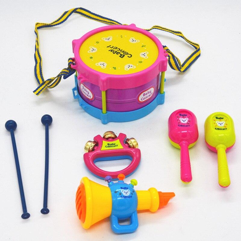 5 Stks / set Muziekinstrumenten Spelen Set Kleurrijke Drum / Tafelbel - Leren en onderwijs