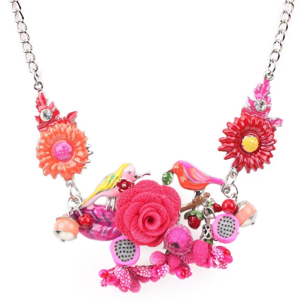 Bonsny Pernyataan Choker Enamel Bunga Kalung Paduan Burung Logam - Perhiasan fashion - Foto 4