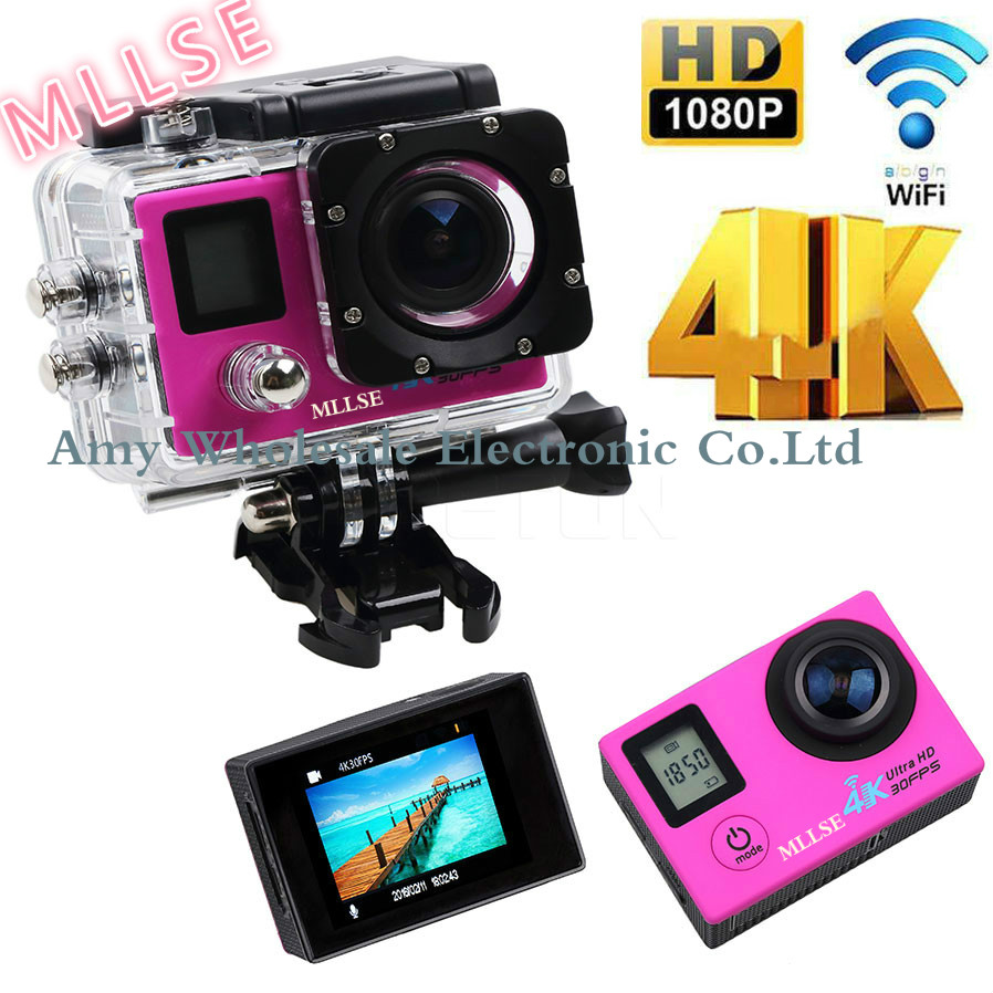 100% Original MLLSE Dual Screen Sport action video camera 4K wifi Ultra HD 1080p 30fps 170D waterproof cam sports camera