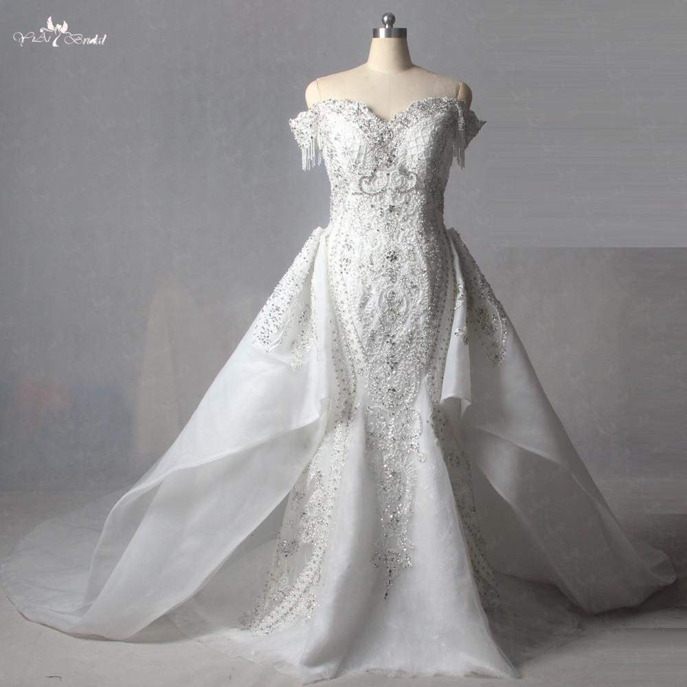 LZ214 Luxury Removable Train Wedding Dress 100% Actual Photos Heavy Beading Lace  Mermaid Wedding Dress China Online Shop-in Wedding Dresses from Weddings ... ff6909d2116a