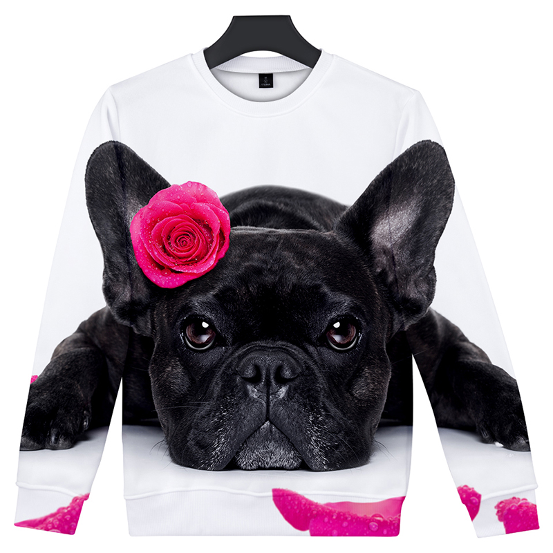 New Fashion Cute French Bulldog Print 3d Hoodies Pullover Men Women Capless Sweatshirt Casual Long Sleeve 3d Hoodie Clothes Tops Men's Clothing