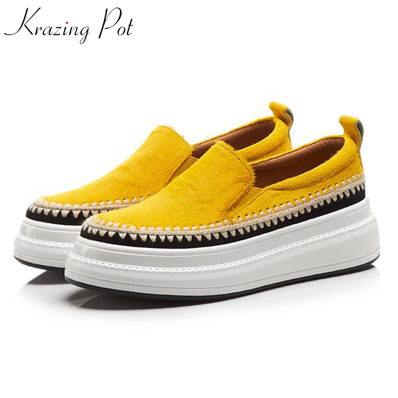 Krazing Pot 2019 horsehair flat platform loafers sneakers for women round toe slip on embroidery decoration