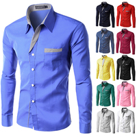 2015 New Spring Fashion Men Shirt Solid Color Long Sleeve Shirt Men Business Affair Wedding Shirt