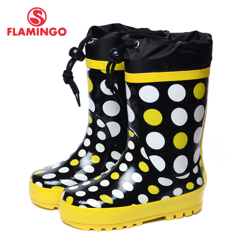 FLAMINGO branded 2017 new collection spring-autumn fashion gumboots with wool quality anti-slip kids shoes for girls 71-HL-0010 ...