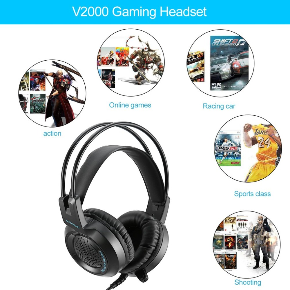 US $15 82 9% OFF|V2000 Headset 7 1 Channel 3 5mm Jack Bass Stereo Sound  Effect Gaming Headphone With Mic for Computer PC Laptop Gamer Headset  Hot-in