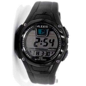 Часы ALEXIS для мужчин, Круглые, черные, с датой, будильником, подсветкой, водонепроницаемые, цифровые часы DW423E