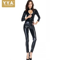 Sexy Black Female Faux Leather Catsuit Latex Bodysuit Zipper Stretch Erotic Fetish Lingerie Belt Hollow Out Motorcycle Jumpsuit