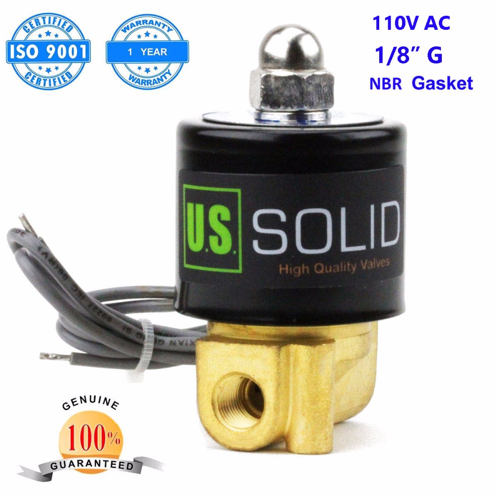 U.S. Solid 1/8 Brass Electric Solenoid Valve 110 V AC G Thread Normally Closed Water, Air 3 8 electric solenoid valve water air n c all brass valve body 2w040 10 dc12v ac110v
