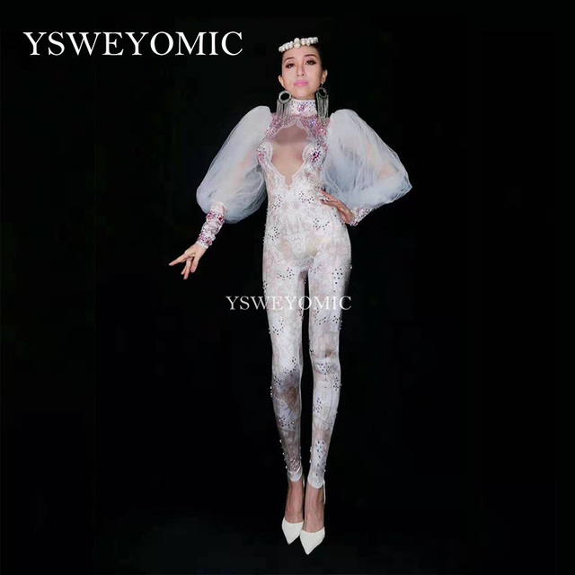 3D print White Color Lace Lady Performance Stage jumpsuit Long sleeve Sexy club Dance Costume Women Sexy Pole Bodysuit YSW6651