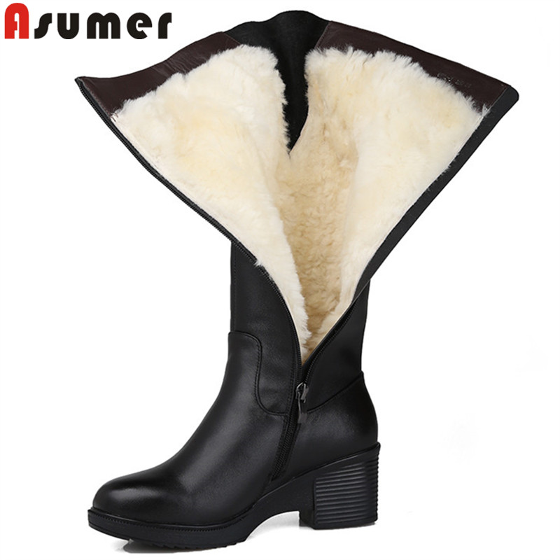 ASUMER size 35 43 fashion genuine leather boots round toe zip mid calf boots women shearling wool winter keep warm snow boots
